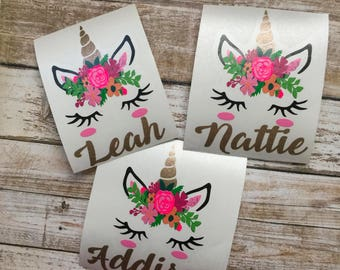 Floral Unicorn Decal | Unicorn Decal | Personalized Unicorn | Yeti Decal | Unicorn Car Decal | Unicorn Sticker | Unicorn Monogram | Decal