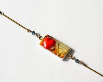 Red heart and butterfly wing bracelet