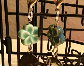 Spoiled Dog Collar Charm w Ceramic Flower Bead Accent