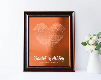 7th Anniversary Copper gift, First dance song, Wow, 22 or 7 Years Together, 22nd anniversary gift, any text