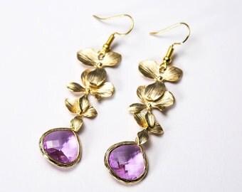 Pink floral earrings. Bridesmaid earrings. Orchid earrings. Bridal earrings.
