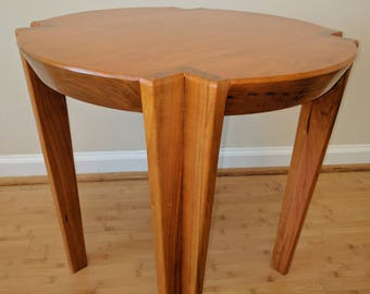 Round Beveled Cherry End Table / Nightstand