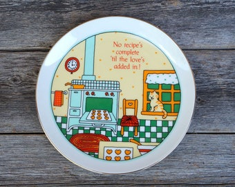 "Vintage Lasting Memories Fine Porcelain Decorative Plate ""No recipe's complete 'til the love's added in!"" Cat Kitty"