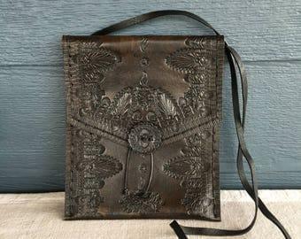 Vintage Black Tooled Leather Shoulder Bag, Tooled Leather Crossbody Bag
