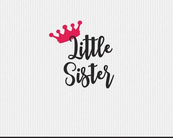 crown little sister svg dxf file instant download silhouette cameo cricut clip art