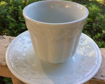 Farmhouse Antique Handleless White Ironstone Cup and Plate Wheat and Clover Turner and Tompkinson 1860s #2