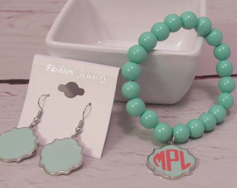 Monogram Bead Bracelet and Dangle Earring Set; Monogram Set; Custom Earrings and Bead Bracelet Set