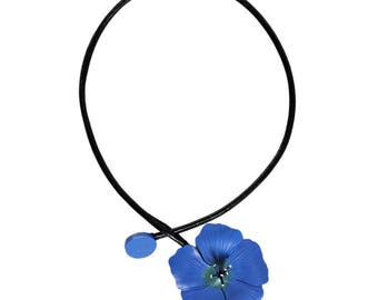 linen leather Flower necklace