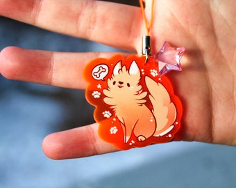 Waffles the Golden Retriever Puppy - UV Reactive Acrylic Charm 1.5 Furry Keychain Cellphone Strap