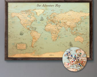 Push pin maps and world maps by krmaps on etsy large personalized push pin world map 24x36 rustic style pin board mounted on gumiabroncs Image collections