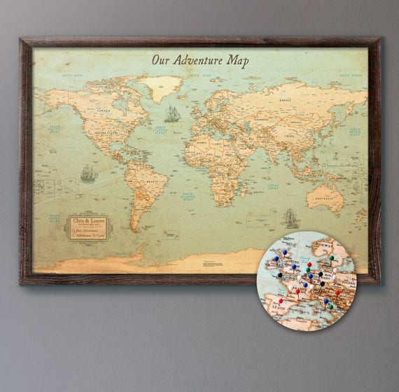 Large personalized push pin world map 24x36 rustic like this item gumiabroncs Image collections