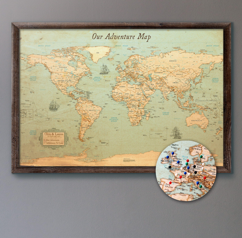 Large Personalized Push Pin World Map 24x36 Rustic