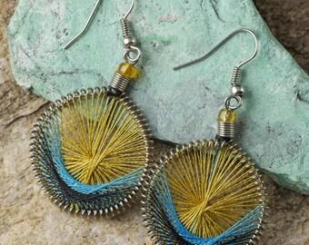 5.5cm String Earrings - Rainbow Earrings, Boho Earrings, Thread Earrings, String Art Colorful Earrings, Lightweight Earrings J1152