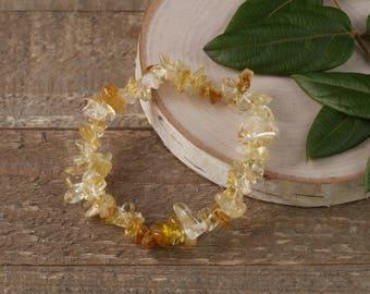 CITRINE Chip Bracelet - Citrine Stone, Citrine Jewelry, Citrine Crystal, Citrine Stretch Bracelet, Gemstones, Healing Stone Bracelet E0629