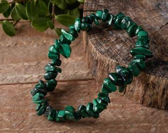 MALACHITE Chip Bracelet - Malachite Jewelry, Healing Crystal Bracelet, Malachite Stone, Malachite Stretch Bracelet, Malachite Crystal E0643