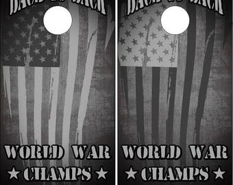 American Flag World War Champs Cornhole Wrap Bag Toss Decal Baggo Skin Sticker Wraps