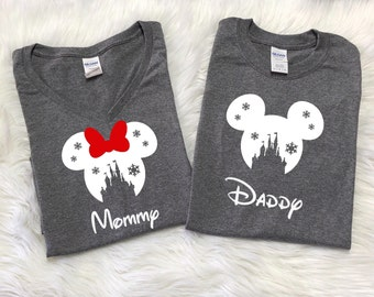 Disney SNOWFLAKE CASTLE with names, Disney inspired shirt, Family Vacation shirts, Disney christmas shirts, Family vacation