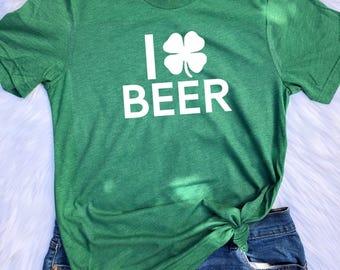 I love Beer UNISEX triblend T-shirt, St. Patrick's day shirt, St. Patricks day women's shirt, Beer, Beer shirt, Beer T shirt, humor shirt
