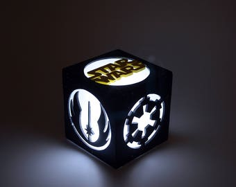 Wooden Light box. Decoration lamp, home decor, illumination, wood. LED candle. Sci-Fi. Movies. Geek, geeky, gift.