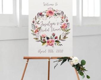 bridal shower sign, printable bridal shower sign, welcome sign, bridal shower decor, rustic bridal shower, floral bridal shower, digital