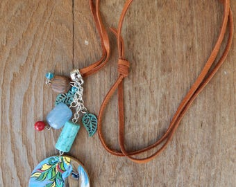Horse pendant Hand Painted slip knotted leather cord