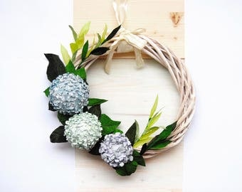 Hydrangea wreath, Hydrangea door hanger, Purple hydrangea, Green hydrangea, Paper flower wreath for front door, Spring decor, Spring wreath