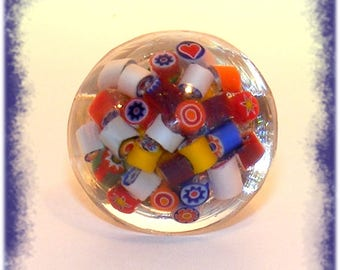 Resin # ring ring adjustable # jewel # creator # globe # cabochon # multicolor # murine glass # gift #