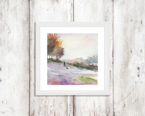 Little autumn landscape, copy of unknown artist, traditional and modern decore, home art, unusual and original gift idea for anniversary.