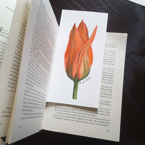 Tupil, artistic bookmark, original mini watercolor by Francesca Licchelli, little picture, gift idea for romantic woman who loves reading.