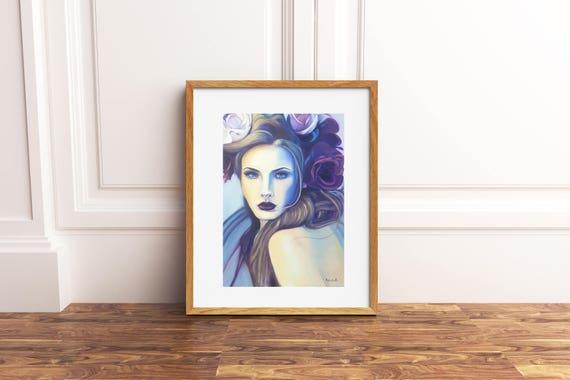 Modern Flora, bolt woman, giclee fine art print of my original oil painting, A5, lounging decor, home office decoration, contemporary art.