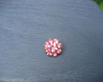 Small Brooch Pin Covered in Pink Rhinestones