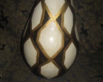 Black/White/Hand-Painted Gold Leaf Hexagon Pattern Homemade Ceramic Pottery Vase/Pot/Planter