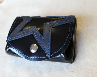 wallet black varnished; leather wallet. Black coin purse