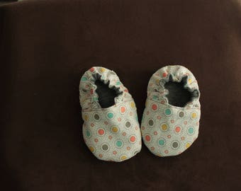 Reversible Soft Sole Crib cotton and jersey polka dot baby shower baby gift soft sole baby shoe baby slippers baby booties