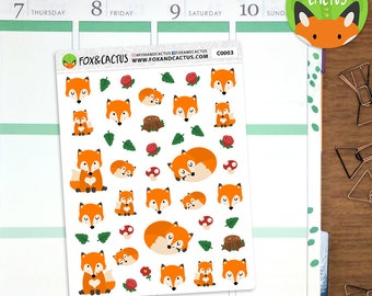 Autumn Fox - Woodlands Fall Floral Forest - Planner Stickers (C0003)