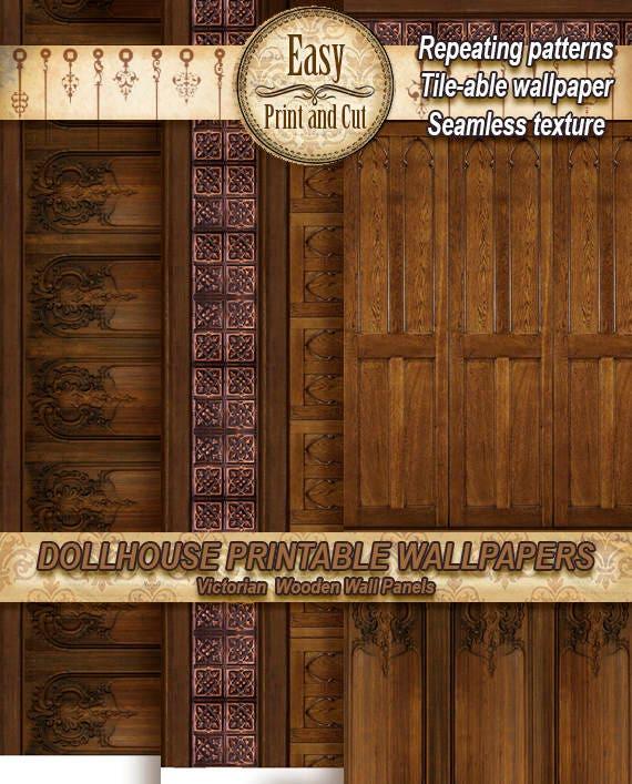 Miniature Dollhouse Wallpaper Decorative Molding Wood Panel