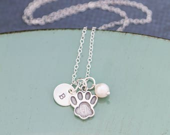 Pawprint Necklace Pet Jewelry Dog Paw Jewelry • Sterling Silver Charm Pawprint Gift Pet Cat Lover Gift Dog Lover Gift Paw Print