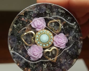 """2"""" Third Eye Chakra Sacred Geometry Orgone Energy Charging Plate for Violet Flame Healing, Gentle Opening, & Protection"""