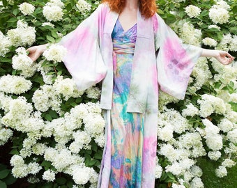 Hand painted silk kimono vintage tie dye mother of the bride boho bridal gow