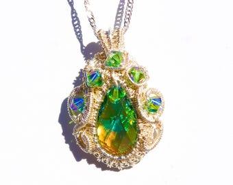 Emerald Green Swarovski Rhinestone Crystal Necklace  Sparkling Stunning Swarovski Crystal Pendant   Silver Wire Wrapped   Unique Jewelry