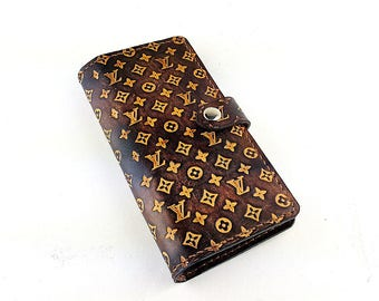 Brown Louis Vuitton LV Pattern Leather Long Wallet Leather Slim Bifold Wallet Man Mens Wallet Woman Womens Wallet, Gift for her him