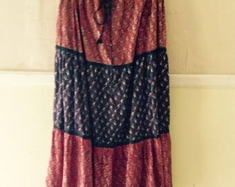 1970s Vintage Made In India Hand Block Printed Long Hippie Skirt With Drawstring Waist