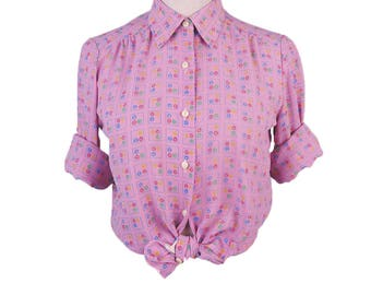 Flower Square Print Long Sleeves Pink Vintage Women Blouse Size M