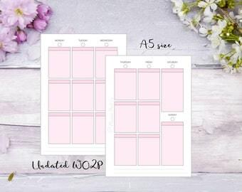 WO2P Undated   A5   Printed   Planner   Insert   Week on 2 pages   Pink   13 weeks   26 weeks   1 year   Filofax   Kikkik