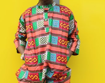 Ankara Shirt - African Top -Wax Print Shirt - African Print Shirt - Mens Shirt - Ethical Clothing - Festival Shirt - African Clothing