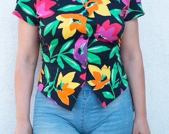 Vintage vest-Cotton-Flower shirt-Vintage Jacket-Vintage Vintage flowers-Lovely Jacket