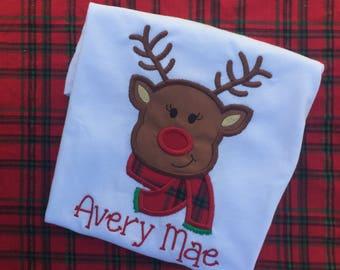 Girl christmas shirt, Reindeer shirt, monogrammed christmas shirt, embroidery christmas shirt, baby christmas shirt, girls christmas shirt,