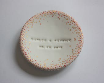 Personalized Wedding Ring Dish Bearer Pillow made from Porcelain Ceramic with tiny colored and Gold / Platin Dots