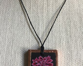 Red flower necklace, Handmade flower pendant, Miniature painted flower, Bridesmaid gift, Wife gift, Unique romantic gift, Artistic jewelry
