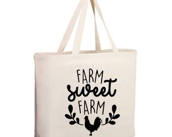 Farm Sweet Farm Tote Bag, Market Bag, Farmers Market shopping bag, Farmers Market Totes, Grocery Tote, Large tote, Shopping
